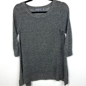 Vince 3/4 Sleeve Grey Scoop Neck Linen Sweater Sma